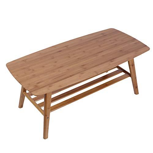 Mesa de centro de bambú con estante de almacenamiento, 2 niveles rectangular 100X50X40Cm Mesa de té baja de madera Mesa de centro de fácil montaje Mesa de té antigua japonesa para sala de estar