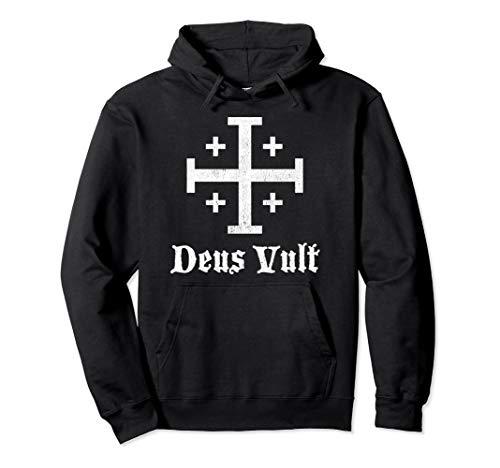 Deus Vult Kreuzritter Schild Kreuz Pullover Hoodie