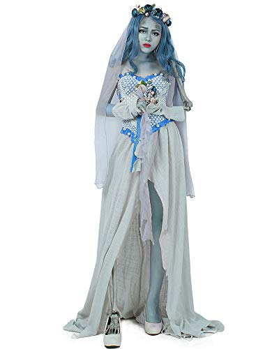 Cosplay.fm Women's Emily Ghost Bride Halloween Cosplay Costume Fancy Dress (Large) Grey