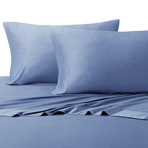 Wholesalebeddings 100% Bamboo Bed Sheet Set - Top Split King, Solid Periwinkle - Super Soft & Cool, Bamboo Viscose, 4PC Sheets
