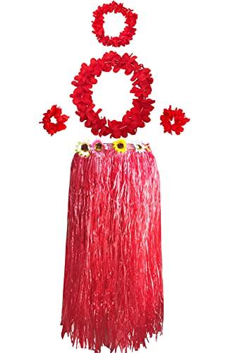 Carnavalife Falda Hawaiana con Collar Pulseras y Diadema de Flores, Disfraces Guirnalda con Elástica para Niñas Mujer Adultos,Pack de 5 piezas (Rojo)