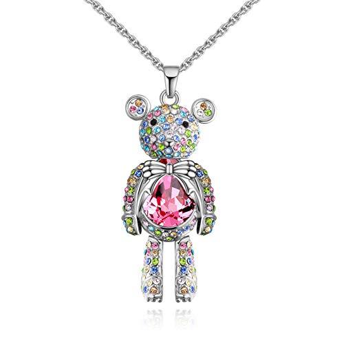 Wlqeri Accesorios Americana, Lindo Collar de Cristal con Forma de Oso Barbie, Colgante de Diamante Femenino