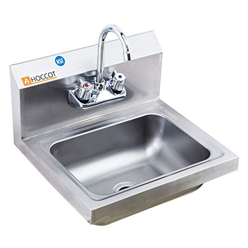"HOCCOT 304 Stainless Steel Sink, Wall Mounted Commercial Sink, Hand Washing Sink with Back Splash, NSF Certificated, Utility Sink for Restaurant, Kitchen, Bar, Outdoor, 17"" x 15"""