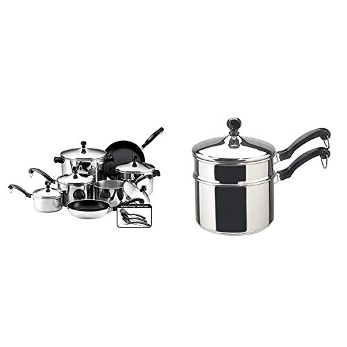 Farberware Classic Stainless Steel Cookware Pots and Pans Set, 15-Piece,50049,Silver & Classic Stainless Series 2-Quart Covered Double Boiler
