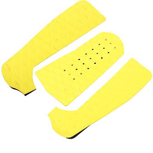 Dilwe Almohadilla Antideslizante para Tablas de Surf, 3PCS Almohadilla de Cubierta de Espuma EVA Antideslizante y ecológica Adecuada para Tablas de Surf y de Arena, etc.(3 Parts Yellow with Hole)
