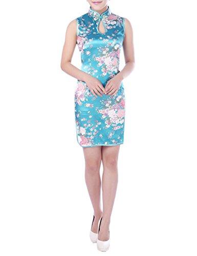 XueXian(TM) Mujer de Elegente Qipao de Estilo Oriental con Sin Mangas(China S/EU 34,azul)