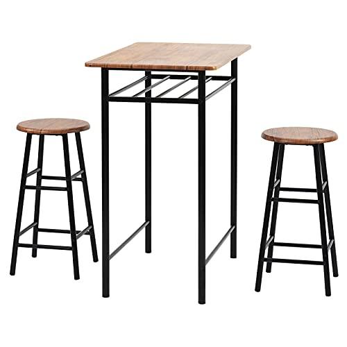 LIZONGFQ Juego de mesa de bar de 3 piezas, estilo vintage, mesa y sillas de comedor, capa de almacenamiento incorporada, mesa de bar y sillas, mesa de comedor de altura con 2 taburetes de bar