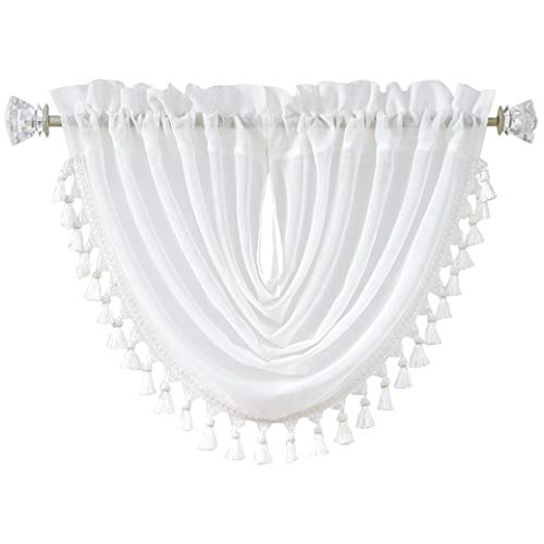 """Central Park White Solid Waterfall Valance Window Curtain Linen Texture Rod Pocket with Tassel Accessories for Living and Bedroom Semi Sheer Kitchen Curtain, 56""""x38"""", 1 Piece"""