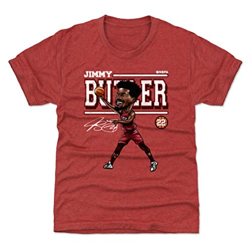 500 LEVEL Jimmy Butler Youth Shirt (Kids Shirt, Medium (8Y), Tri Red) - Jimmy Butler Cartoon WHT
