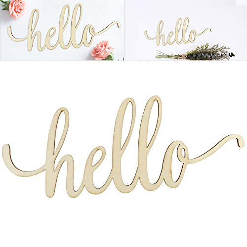 WINOMO Holzbuchstaben Deko Schriftzug Hello Dekobuchstaben 3D Wanddeko 30.5x12.7x0.4cm