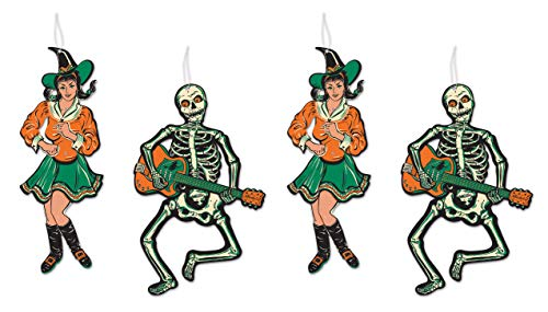 """Beistle Jointed GoGo Dancers 4 Piece Vintage Halloween Party Decorations, 14"""" & 14.5"""", Green/Orange/Off White/Black"""