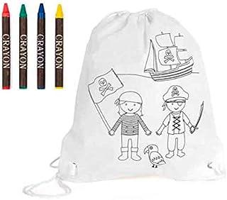 Lote de 25 Unidades Mochila infantil piratas con 4 ceras para colorear. Regalos para cumpleaños y fiestas de niños. Detalles para invitados infantiles