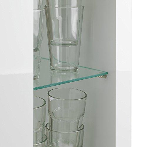 Bar Hausbar Cocktailbar Bartheke | Dekor Weiß Hochglanz | Glaseinlegeböden - 4