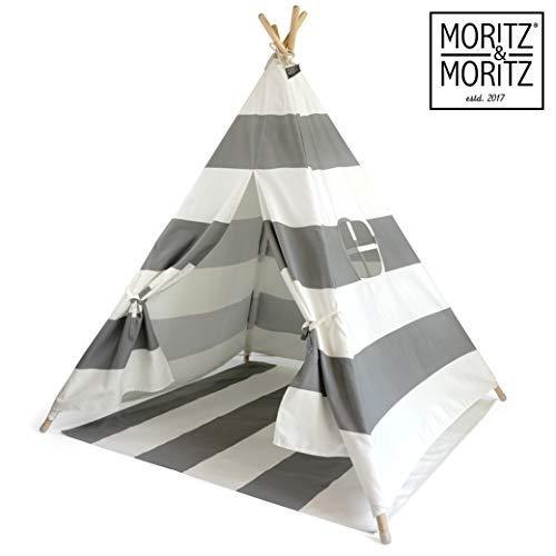 Moritz & Moritz Tipi Zelt für Kinder - Grau Gestreift - Kinderzelt Spielzelt Geschenkidee - Mit Bodendecke und Fenster - Für Haus und Garten