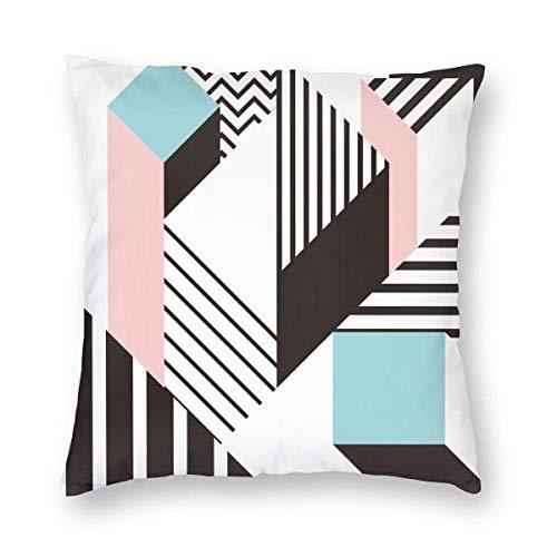 Two Sides Design Bedruckter Kissenbezug, buntes geometrisches Muster von Memphis in moderner Abstrakter Form Spaß Bauhaus Square Throw Kissenbezug Kissenbezug für Sofa Couch Home Decor