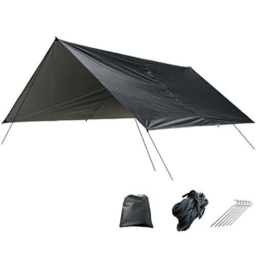 TRIWONDER wasserdichte Zeltplane, Tarp für Hängematte, Regenschutz Sonnenschutz für Ourdoor Camping (Schwarz)