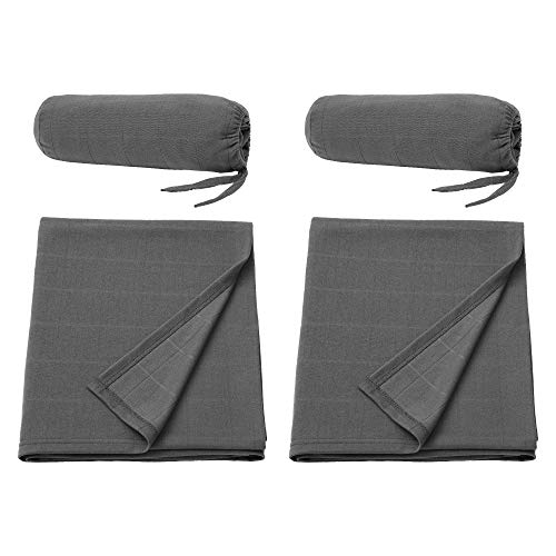 Ikea ODDHILD - Manta de viaje con bolsa, color gris oscuro, 120 x 170 cm, 2 unidades