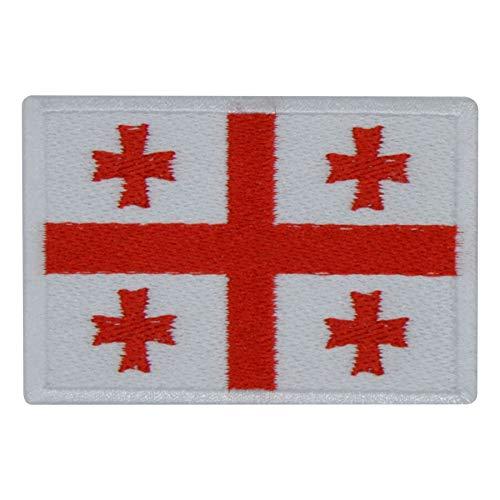 FanShirts4u Aufnäher - GEORGIEN - Fahne - 8 x 5,5cm - Flagge Wappen Bestickt Patch Badge (weiße Umrandung)