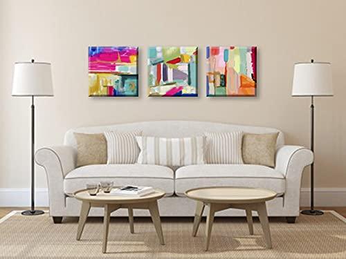 Cuadros Pintura Abstracta Triptico 3 piezas 30x30cm Bastidor de Madera Listo para Colgar Impresion Moderna apta para Salon Dormitorio Sala de Estar Pasillo Baño Cocina Hoteles