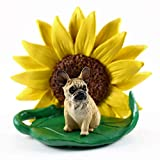 Conversation Concepts French Bulldog Fawn Figurine – Sunflower Statue Gift: Realistic Hand Painted Sculpture, Summer Nursery or Home Office Desk Decor, Spring Shower Present