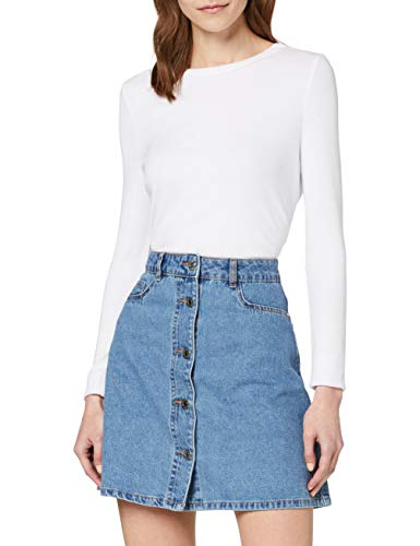 NOISY MAY Damen NMSUNNY SHORTDNM Skater Skirt GU123 NOOS Rock, Blau (Medium Blue Denim Medium Blue Denim), 34 (Herstellergröße: XS)