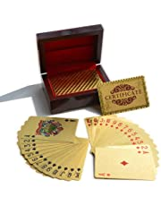 24K Gold Foil Plated Poker Playing Cards Traditional Set With Wooden Box Free