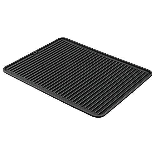 iDesign Secaplatos para fregadero, alfombrilla escurreplatos de silicona para fregadero de tamaño grande, escurridor de platos y vasos, negro