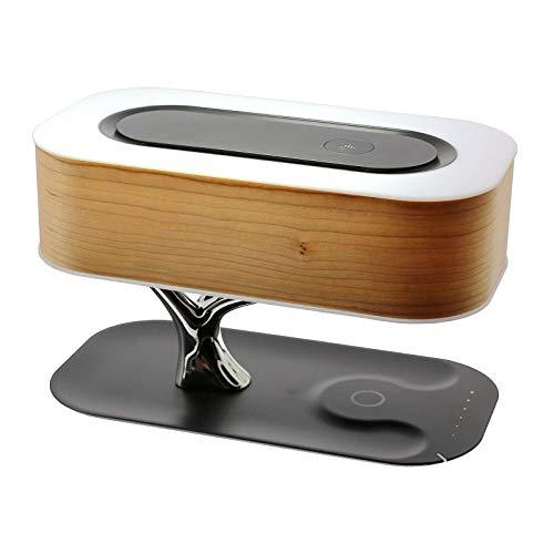 perfk Lámpara de Escritorio con Altavoz Bluetooth Y Cargador Inalámbrico Modo de Suspensión