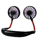 JUTEK® Portable Mini Neck Hanging Fan, Hands-Free Neckband, Wearable & Portable Double Wind USB...