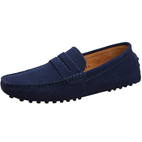 Yaer Herren Driving Loafers Flat, Premium Slip-on Wildleder Mokassin Bootsschuhe(Tiefes Blau,49 CN)