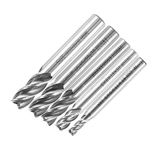 Yosoo 5pz CNC Gambo Dritto Frese con 4 Scanalature Elicoidali, Cutter Hss da 4/6/8/10/12 mm