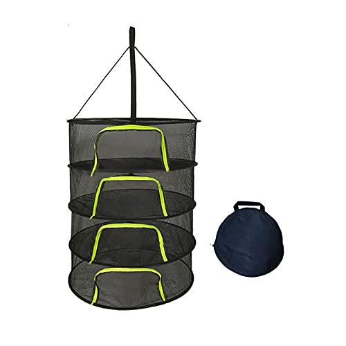 4 Capa de Malla para Colgar Red de Secado Malla Secado Hierbas Aromáticas con Cremallera en Forma de U, Bolsa de Transporte Incluida
