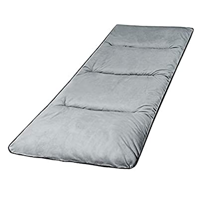 """REDCAMP XL Cot Pads for Camping, Soft Comfortable Cotton Thin Sleeping Cot Mattress Pad 75""""x28"""", Brown Grey and Navy Blue"""