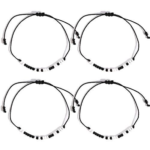 "4 Stücke Morsecode-Armband""I Love You"", Entfernung Matching Armbänder Paar Armband Geschenk für Freund, Bruder,Schwestern, Paar"