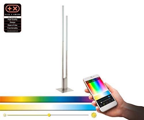 Preisvergleich Produktbild EGLO connect LED Stehlampe Fraioli-C,  2 flammige Stehleuchte aus Aluminium und Kunststoff in Nickel-Matt,  weiß,  Farbtemperaturwechsel (warm,  neutral,  kalt),  RGB,  dimmbar,  Lampe mit Tritt-Schalter