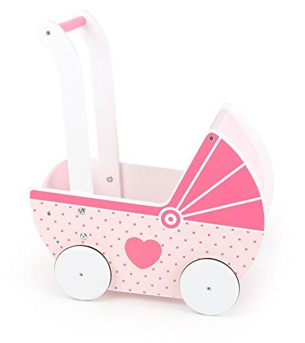Small Foot 10740 Puppenbaggy aus Holz in rosanen Farbtönen, gummierte Reifen für leichtes und geräuschloses, bietet unterstützenden Halt beim Laufen, im nostalgischen Stil, ideales Puppenzubehör