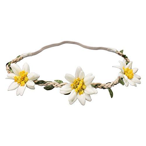 Alpenflüstern Trachten-Haarband Edelweiß-Blüten Creme-weiß ADV102