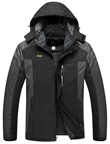 Lega Mens Warm Winter Coat Insulated Fleece SKi Jacket Waterproof Windproof Mountain Rain(Black/XL)