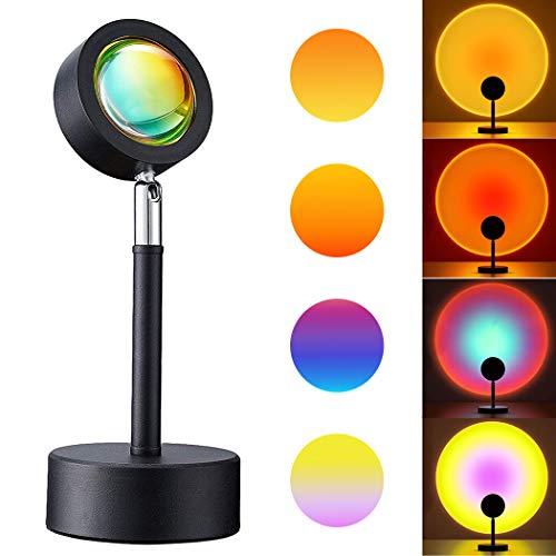 Lámpara de proyección de puesta de sol, lámpara de puesta de sol con rotación de 180 grados, con proyector de luz nocturna visual USB para el hogar, fiesta, sala de estar, dormitorio (puesta del sol)