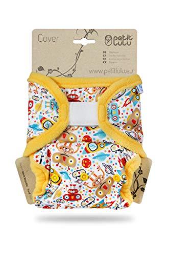Petit Lulu Größe 2 Prefold PUL Überhose mit Laschen (4-15 kg) Klett One Size Windelüberhose Baby Windelhose Waschbar & Wasserdicht Stoffwindeln Hergestellt in EU (Weltraumroboter)