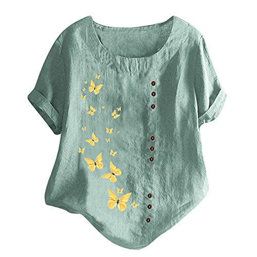 Women's Tops Plus Size Novelty Flower Pattern Printed T-Shirt with Buttons Summer Casual Loose Short Sleeve Round Neck Tee Shirt Beach Baggy Blouse Tunic Top (B-Green, L)