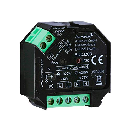 iluminize Zigbee 3.0 Schalt-Aktor Mini, 1 Kanal 230V, max. 400W, Lightlink & Touchlink, keine Dimmfunktion