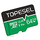 TOPESEL 64GB Micro SD Card Memory Cards U3 C10 Micro SDXC UHS-I TF Card for Cemera/Drone/Dash Cam(1 Pack U3 64GB)