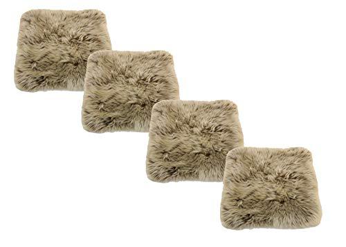 Reissner Lammfelle Engel Naturfelle 4er Set Sitzauflage DIANA-40-Set4-CAP aus Lammfell hochwollig quadratisch 40x40cm, Cappuccino