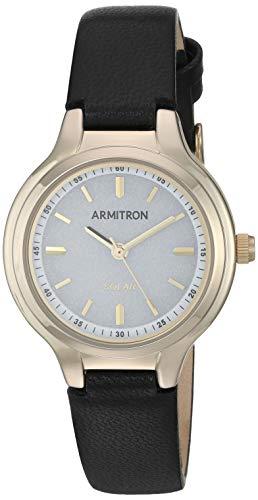 Armitron Women's 75/5633WTGPBK Solar Powered Black Leather Strap Watch