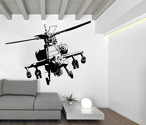 Axlgw grote helikopter muur Sticker Jongen kamer slaapkamer vliegtuig vliegtuig leger muur Decal woonkamer kinderkamer Vinyl Home Decor Mural Grootte: 80Cmwidex60Cmhigh
