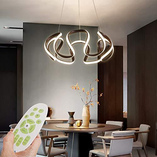 Modern LED Pendelleuchte Schlafzimmerlampe Kronleuchter Dimmbar mit Fernbedienung Hängeleuchte Höhenverstellbar Geometrie Design Esstisch Pendellampe Hängelampe 84W Büro Restaurant Esstisch Flur