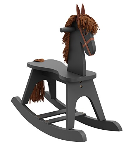 Storkcraft Wooden Rocking Horse, Gray, Kids Rocking Horse Chair Ride Toy for Toddlers and Small Children for Nursery & Playroom