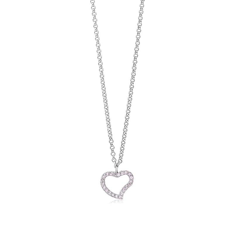 Girls Sterling Silver 925 Heart Necklace | Cubic Zirconia Pendant With 15