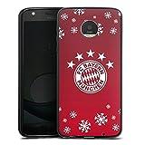 DeinDesign Silikon Hülle kompatibel mit Lenovo Moto Z Play Hülle schwarz Handyhülle FC Bayern München Weihnachten Offizielles Lizenzprodukt